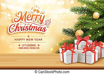 Christmas greeting card with gifts boxes on wooden table and tree bokeh background. Xmas and happy new year.