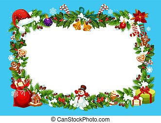 Christmas greeting card with gifts frame