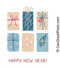 Christmas greeting card with gifts on white background.