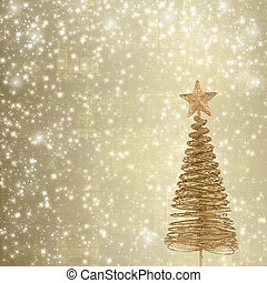 Christmas greeting card with gold metal firtree on the...