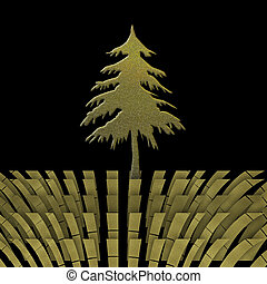 Christmas greeting card with goldl fir tree