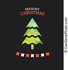 Christmas greeting card with green pine