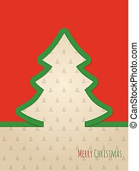 Christmas greeting card with green ribbon tree