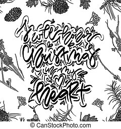 Christmas greeting card with hand drawn lettering.