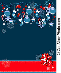 Christmas greeting card with hanging balls and red bow