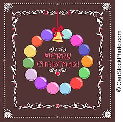 Christmas greeting card with hanging wreath with paper cutting colorful baubles and jingle bell