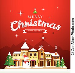 Christmas Greeting Card with houses