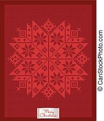 Christmas greeting card with knitted snowflake - Christmas...