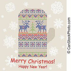 Christmas greeting card with mitten