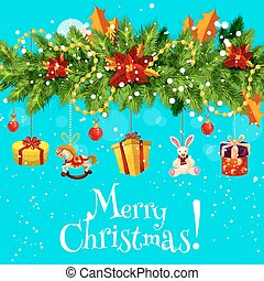 Christmas greeting card with New Year garland