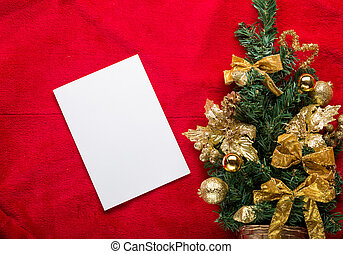 Christmas greeting card with on a red background