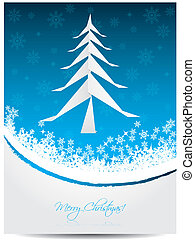 Christmas greeting card with origami tree