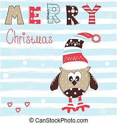 Christmas greeting card with owl