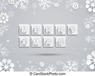 Christmas greeting card with paper snowflake