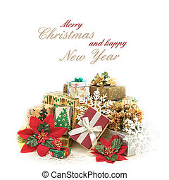Christmas greeting card with pile of gifts in colorful wrapping and text