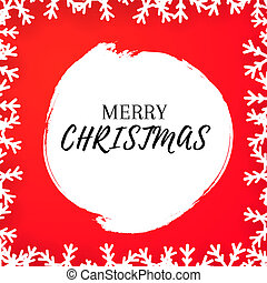 Christmas greeting card with red background and white border of snowflakes.