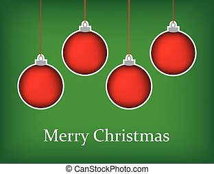 christmas greeting card with red baubles and merry christmas text