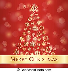 Christmas greeting card with red background and golden snowflakes