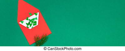 Christmas greeting card with red envelope