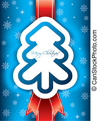 Christmas greeting card with red ribbon