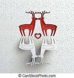 christmas greeting card with reindeers