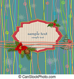 Christmas greeting card with retro