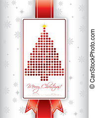 Christmas greeting card with ribbon and christmas tree