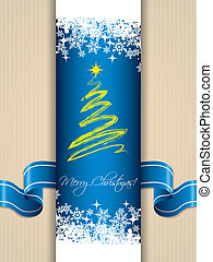 Christmas greeting card with ribbon