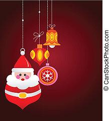 Christmas greeting card with santa and ornaments