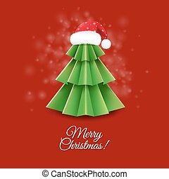Christmas Greeting Card With Santa Claus Hat