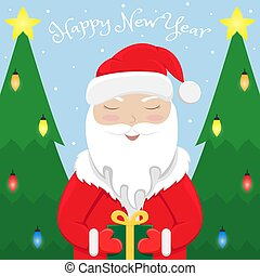 Christmas greeting card with Santa Claus with a gift in hand and Christmas trees. Flat cartoon illustration.