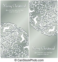 Christmas Greeting card with snowflake and deer