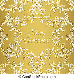 Christmas Greeting card with snowflake, gold