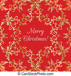 Christmas Greeting card with snowflake, red