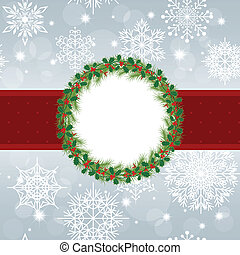 Christmas greeting card with snowflakes and star on silver background