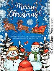 Christmas greeting card with snowman and Santa - Christmas...
