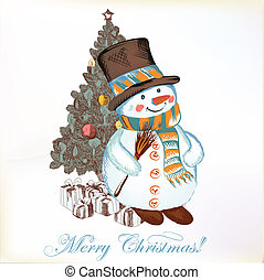 Christmas greeting card with snowman - Christmas vector hand...