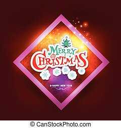 Christmas greeting card with square frame.