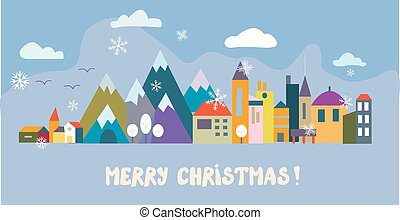 Christmas greeting card with town and snow