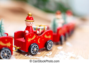 Christmas greeting card with train and Christmas decoration.