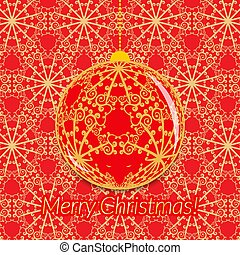 Christmas greeting card with transparent ball on ornate red and gold background