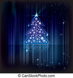Christmas greeting card with tree on the blue shiny l background
