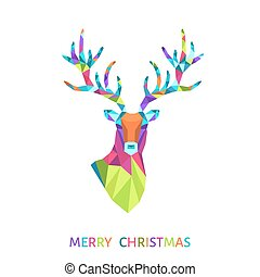 Christmas greeting card with triangle reindeer head.