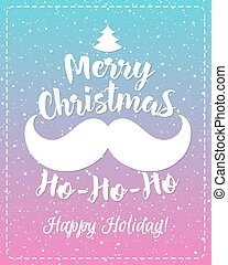 Christmas greeting card with white emblem consisting sign Merry Christmas and mustache