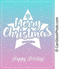 Christmas greeting card with white emblem consisting sign Merry Christmas and star