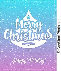 Christmas greeting card with white emblem consisting sign Merry Christmas and tree