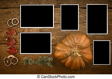 Christmas greeting card,five empty photos frames
