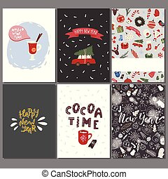 Christmas greeting cards set with winter holiday design elements.