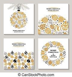 Christmas greeting cards with balls set