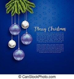 christmas greeting design with hanging balls